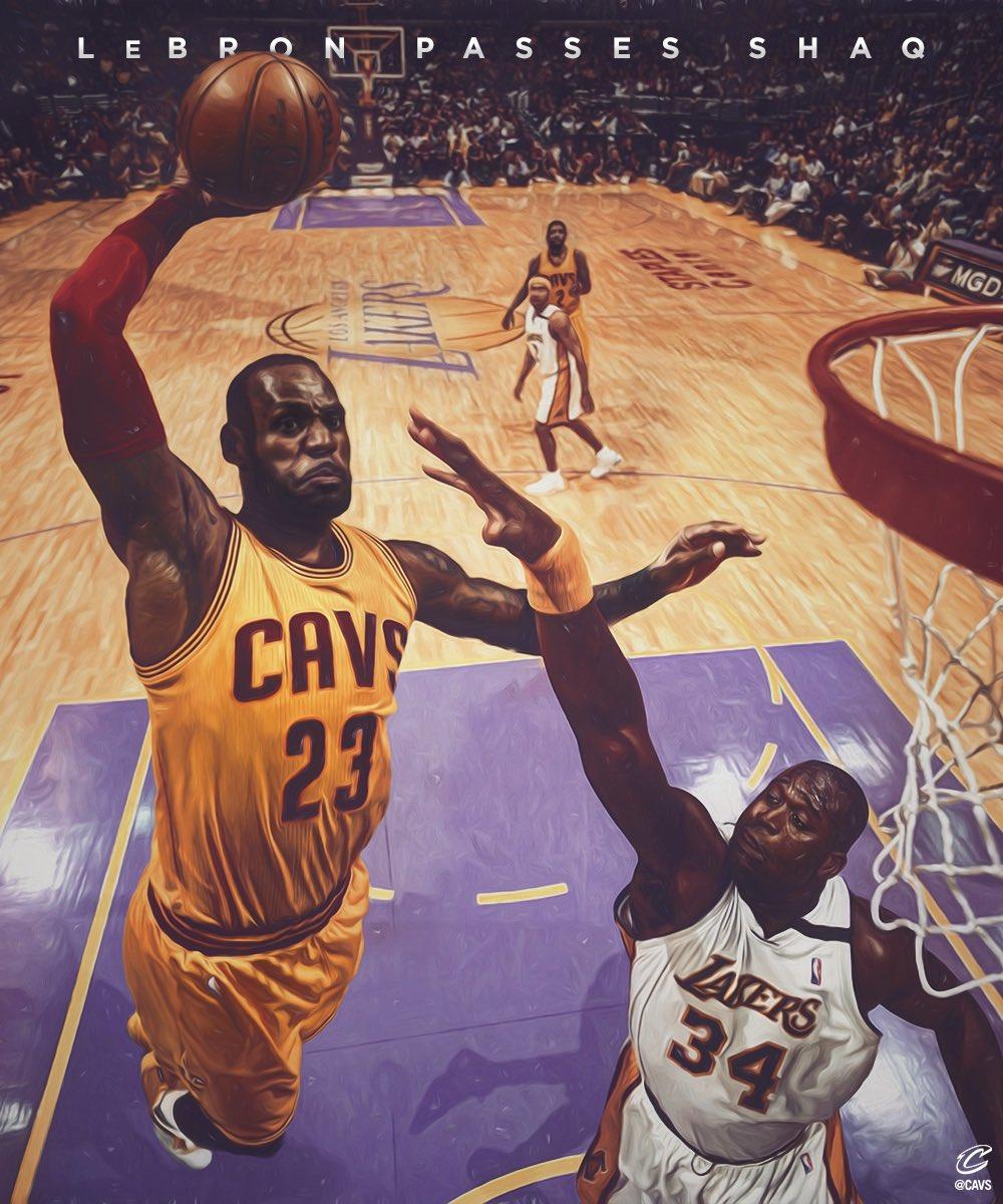 LeBron James superó al exjugador de los Lakers, Shaquille O'Neal. (Foto Prensa Libre: Twitter Cavs)