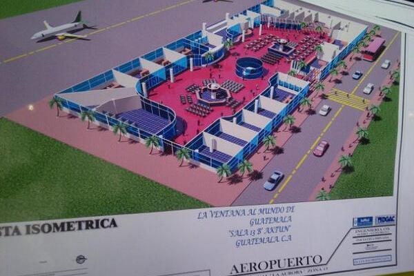 Maqueta de la futura sala de espera de pasajeros en el Aeropuerto Internacional La Aurora. (Foto Prensa Libre: Geovanni Contreras)