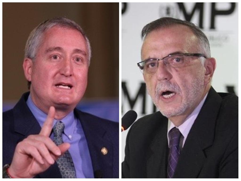 El ministro de Gobernación (Mingob), Enrique Antonio Degenhart, y el Comisionado Iván Velásquez. (Foto Prensa Libre: Elaboración Propia)