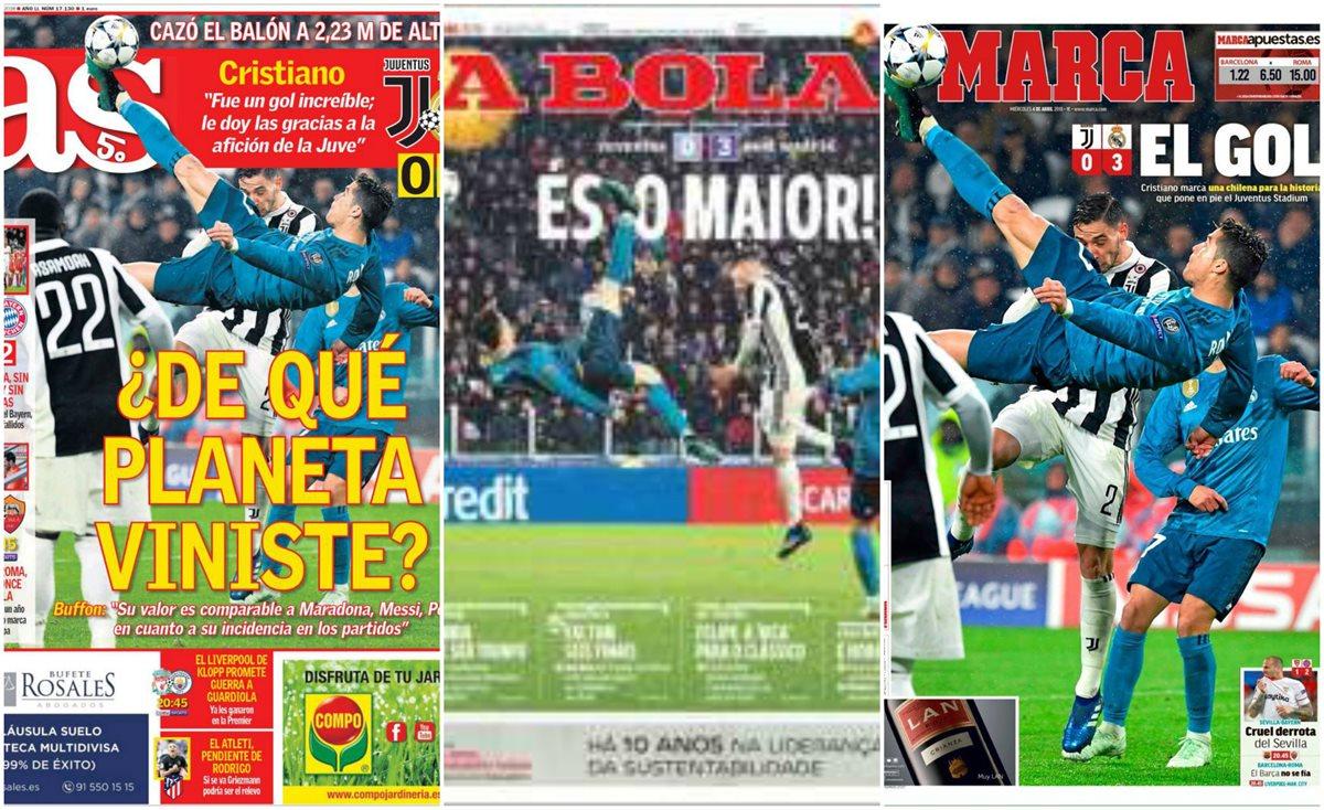 La chilena de Cristiano Ronaldo frente a la Juventus se robó las portadas de los diarios deportivos. (Foto Prensa Libre: Tomadas de Twitter)