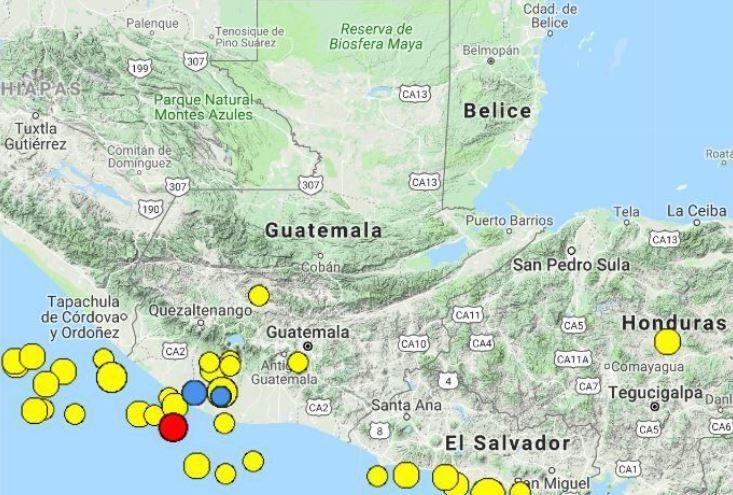 Un temblor fue sensible en varios departamentos del territorio nacional este sábado por la noche.