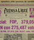 Portada del 11/03/1982 con los resultados Oficiales de las elecciónes, donde el ganador fue el general Ángel Aníbal Guevara. (Foto: Hemeroteca PL)