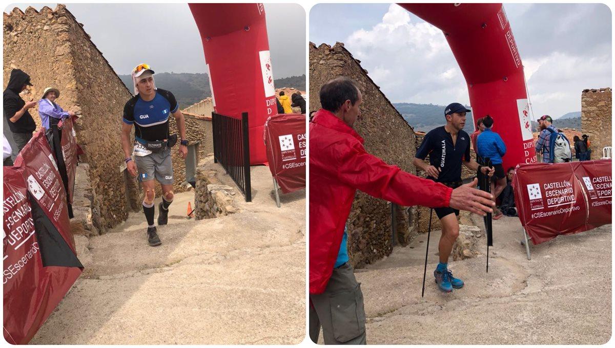 Charlie Sarmiento y Juan Carlos Sagastume en acción durante su participación en el Campeonato del Mundo de Trail. (Foto Prensa Libre: Cortesía Charlie Sarmiento)
