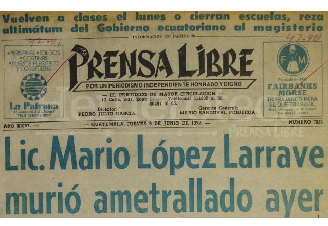 1977: asesinan a Mario López Larrave, miembro del CSU