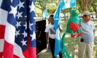 Migrantes guatemaltecos se reúnieron frente a la Casa Blanca en  Washington, durante un acto organizado por la  Comisión de Derechos Humanos de Guatemala, para solicitar el Estatus de Protección Temporal (TPS, siglas en inglés). (Foto Prensa Libre: AP)