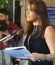 Alicia Machado da su discurso en contra de la posible administracion Trump. (Foto Prensa Libre: AP)
