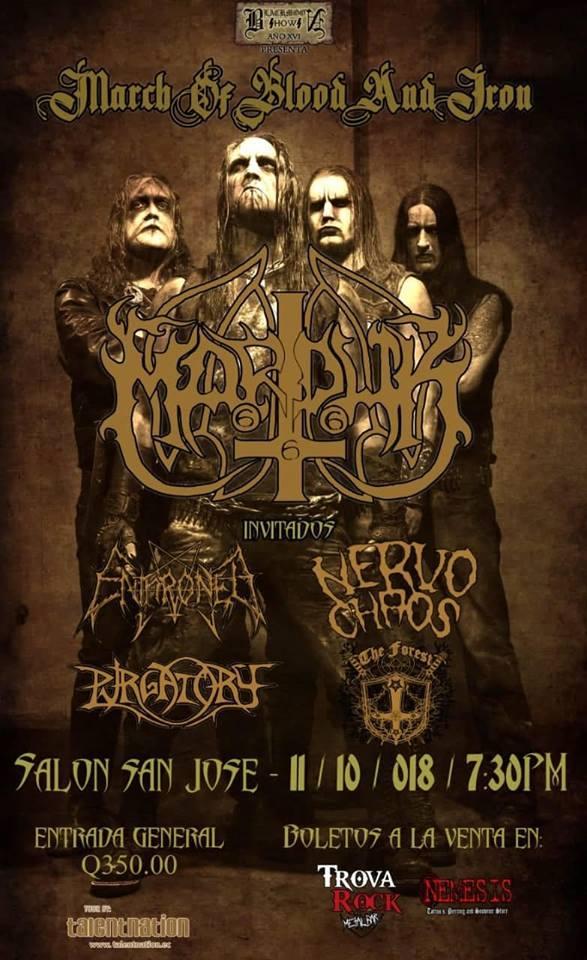 Afiche promocional del próximo concierto de Marduk en Guatemala. (Foto Prensa Libre: Facebook Marduk).