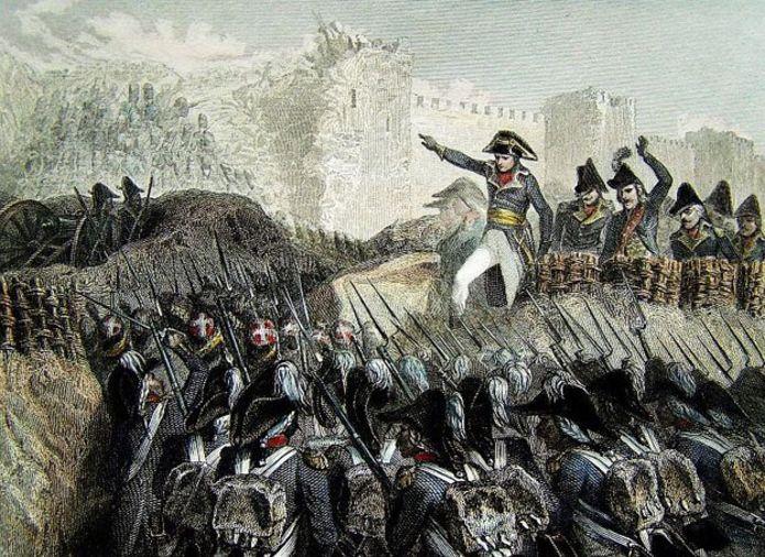 Napoleón dirigiendo las tropas en la batalla por el puerto de Acre.