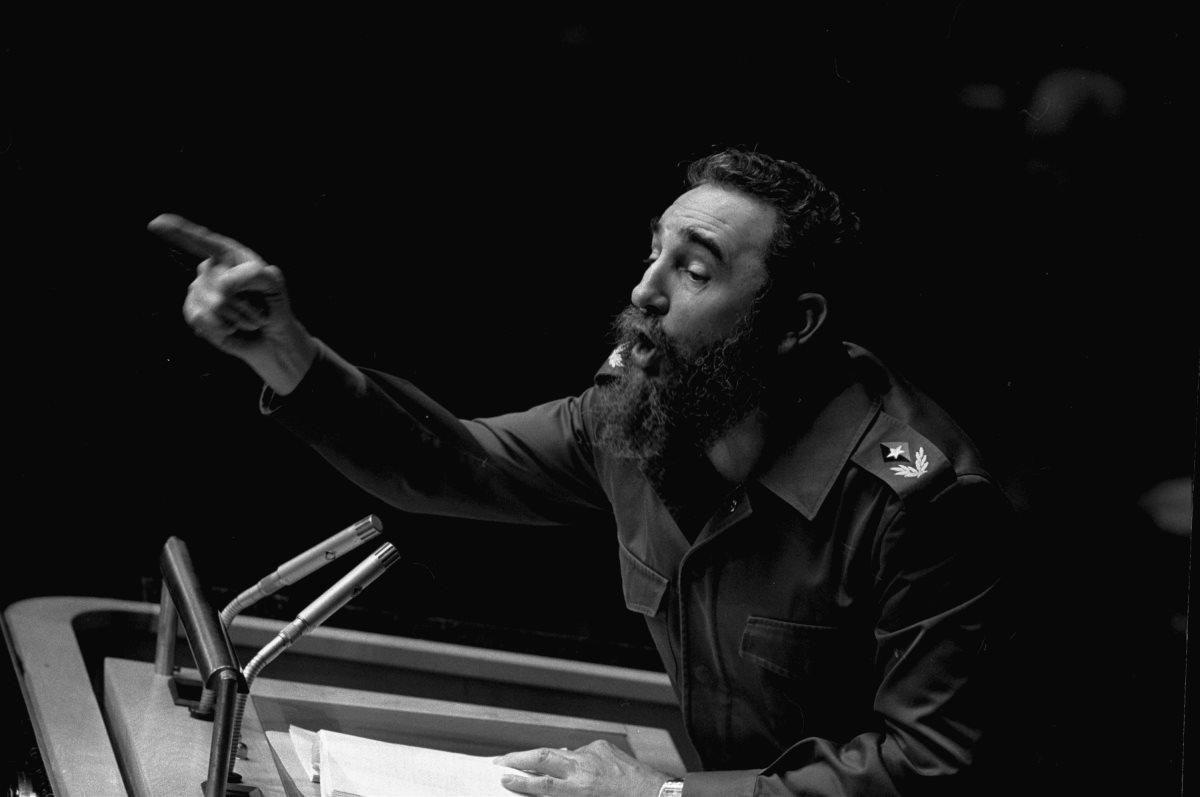 Fidel Castro, líder de la revolución cubana, en la asamblea general de la ONU de 1979. (Foto Prensa Libre: Hemeroteca PL)