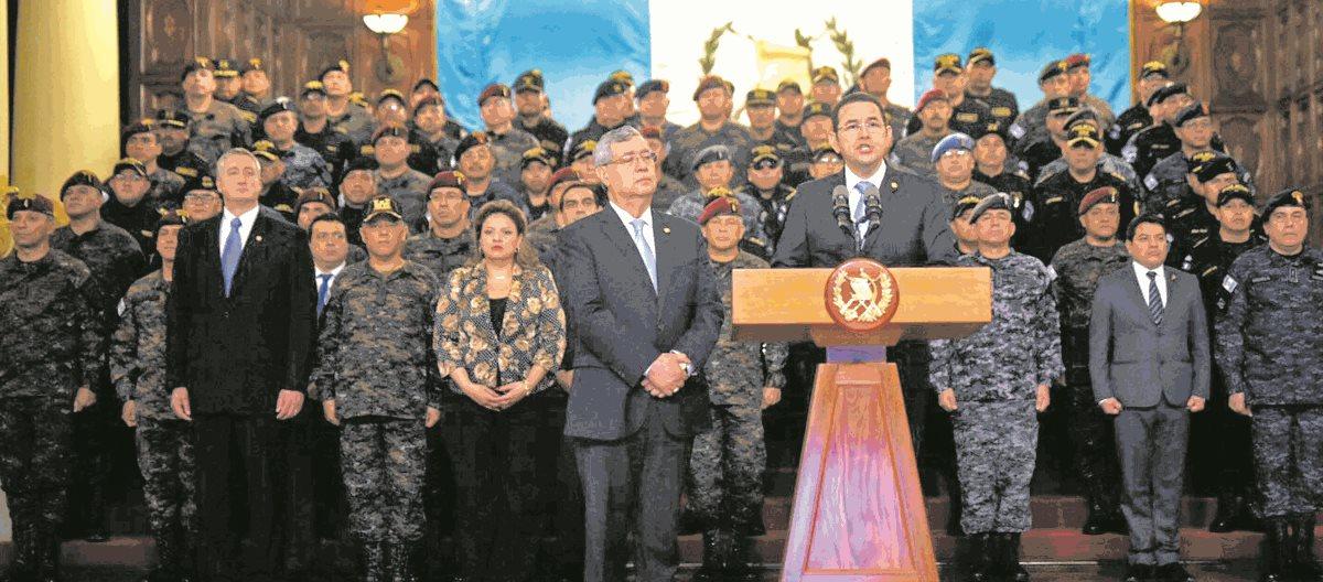 Presidente Morales al anunciar que no renovará mandato de Cicig. (Foto Prensa Libre: HemerotecaPL)