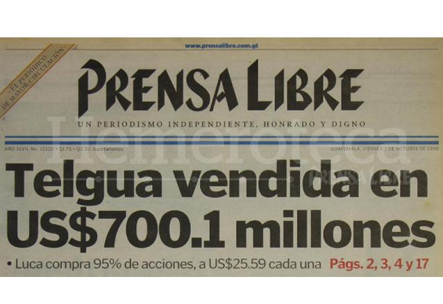 Se consuma la privatización de Telgua en 1998