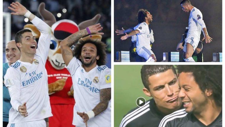 Postales de la amistad entre Cristiano y Marcelo, en el Real Madrid. (Foto Prensa Libre: Twitter)