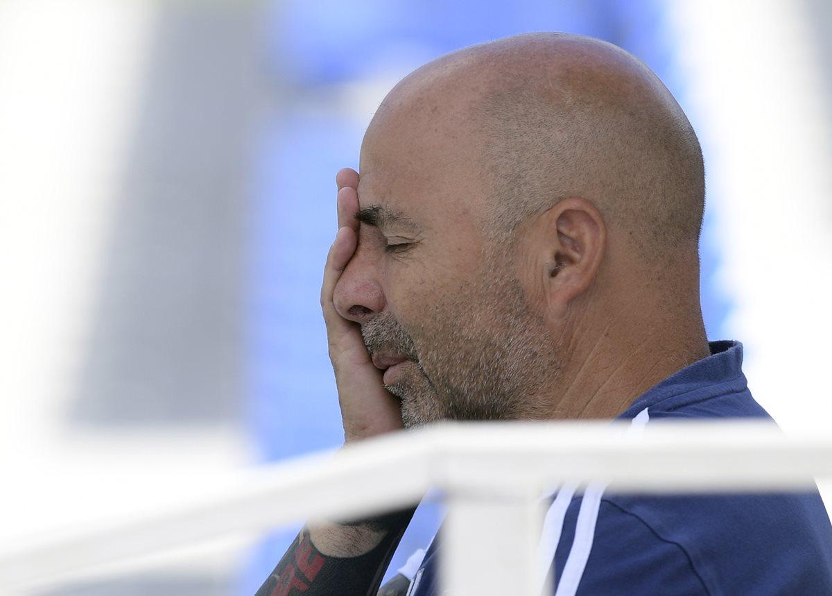 Jorge Sampaoli tuvo una gestión complicada al frente de Argentina, con una sufrida clasificación a la Copa del Mundo y una tempranera eliminación en Rusia 2018. (Foto Prensa Libre: AFP)