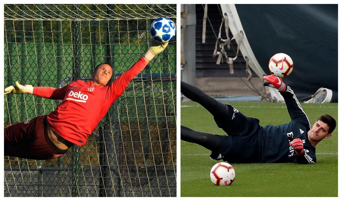 Ter Stegen y Courtois, los guardametas del Barcelona y Real Madrid. (Foto Prensa Libre: AFP Y EFE)