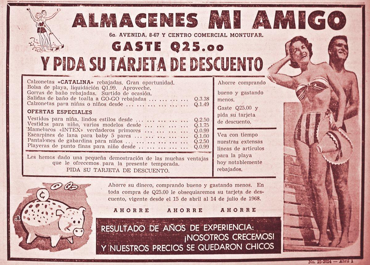 REPRODUCCIONES  DE ANUNCIOS QUE SE PUBLICABAN EN PRENSA LIBRE. (1968).