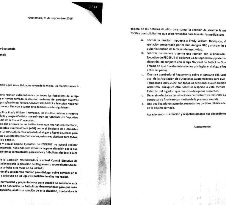 Estas son las solicitudes de los jugadores a la Federación Nacional de Futbol. (Foto Prensa Libre: Hemeroteca PL)