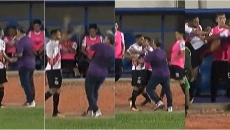 Secuencia de la agresión del jugador Thiago contra su técnico. (Foto Prensa Libre: redes)