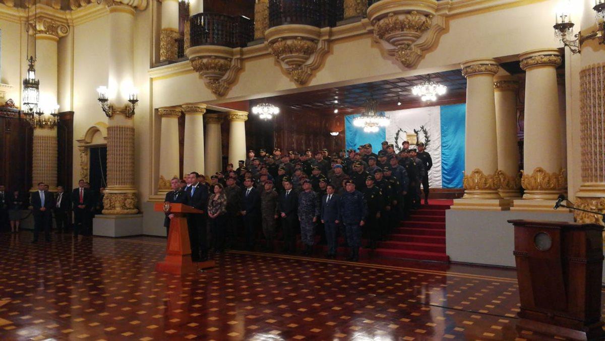 El presidente Jimmy Morales anuncia la no renovación del mandato de la Cicig en el 2019. (Foto Prensa Libre: Juan Diego González)