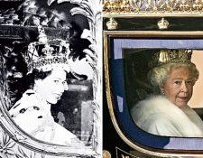 La Reina Isabel II, a la izquierda el día de su coronación en 1953 y a la derecha en 2007. (Foto Prensa Libre: AFP)