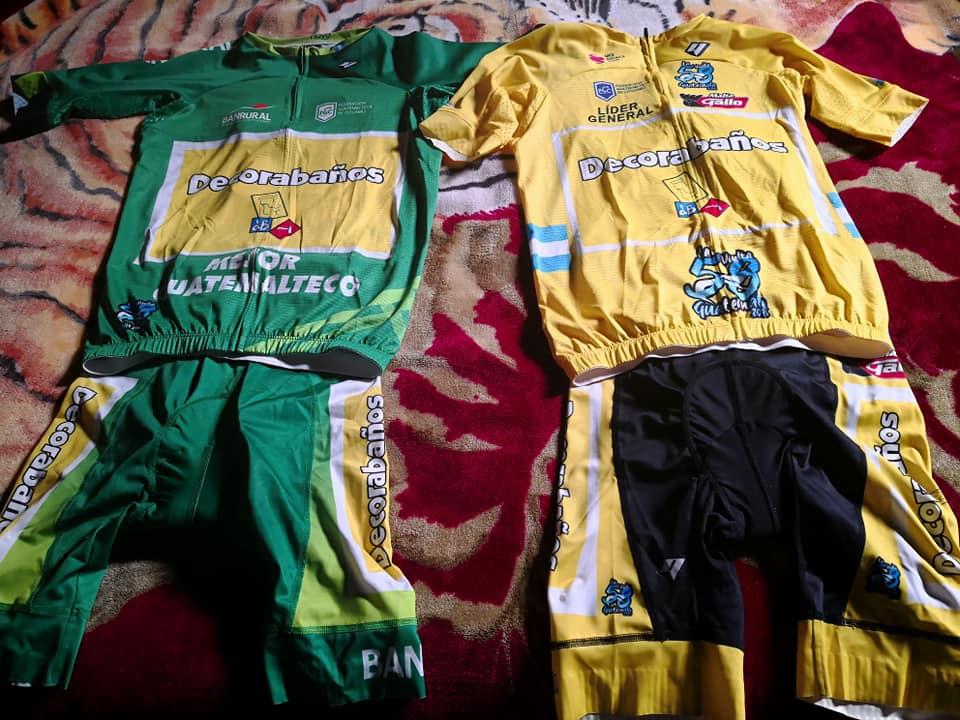 El suéter de mejor guatemalteco y de líder que portó el ciclista en el tour internacional están a disposición de los aficionados. (Foto Prensa Libre: Cortesía)