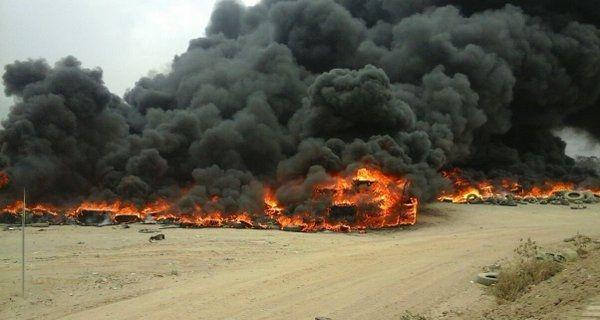 Cientos de llantas se queman en el relleno sanitario de Amatitlán, el lugar es administrado por Amsa. (Foto Prensa Libre: Amsa)