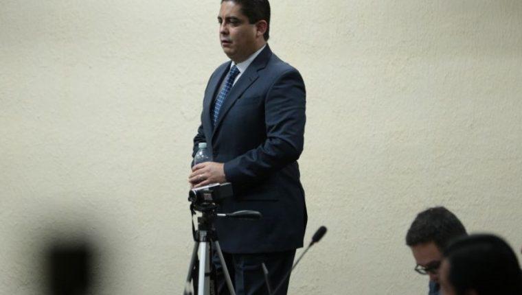 Mega sala de audiencias de la Torre de Tribunales durante el tercer día de audiencia de declaración en anticipo de prueba de Juan Carlos Monzón. (Foto Prensa Libre: Carlos Hernández)
