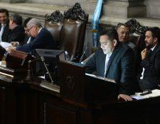 El exdiputado Edgar Cristiani cuando daba lectura al articulado del Presupuesto en 2016. (Foto Prensa Libre: Hemeroteca PL)