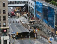 Lugar del hundimiento de tierra en Ottawa,Canadá. (Foto Prensa Libre:AFP).