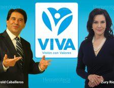 Harold Caballeros fundador del partido y Zury Ríos candidata a la presidencia. (Foto: Hugo Cuyán)