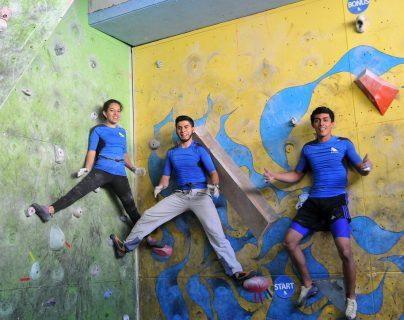 Ayleen Guaré, Héctor Mejía y Érick Morales son atletas destacados de la escalada deportiva y cada día se esfuerzan para ser mejores. (Foto Prensa Libre: Gloria Cabrera)