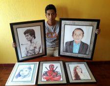 Desde hace dos años, Rudy Niz, originario de Jalapa, se dedica a dibujar con lapicero. (Foto Prensa Libre: Cortesía)