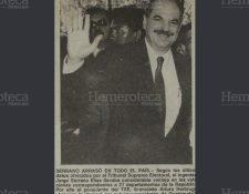 Serrano Elías al momento de ser notificado por el TSE que era el próximo Presidente de Guatemala