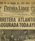 Portada de Prensa Libre del 30/11/1959 sobre la inauguración de la carretera al Atlántico. (Foto: Hemeroteca PL)
