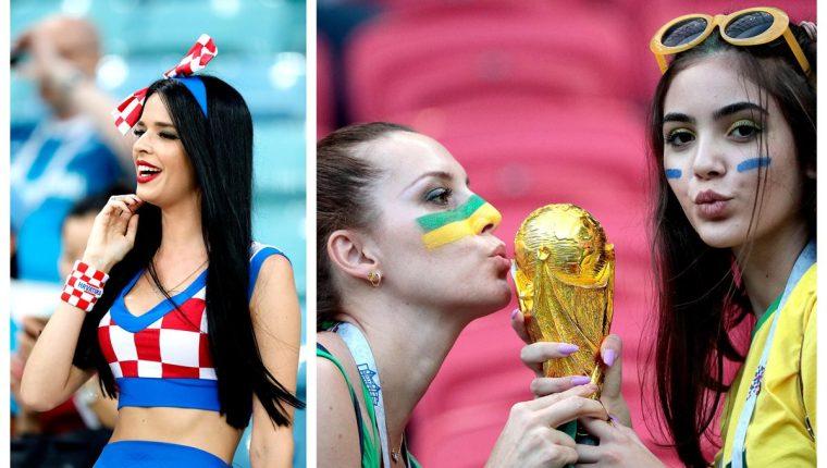 La belleza femenina siempre acapara la atención en los estadios del Mundial. (Foto Prensa Libre: AFP)