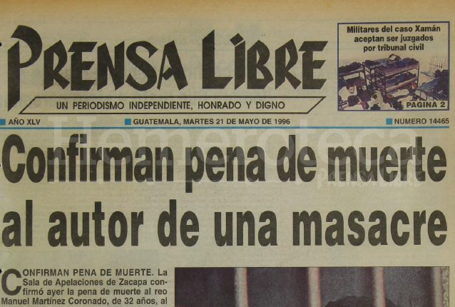 Titular de Prensa Libre del 21 de mayo de 1996. (Foto: Hemeroteca PL)