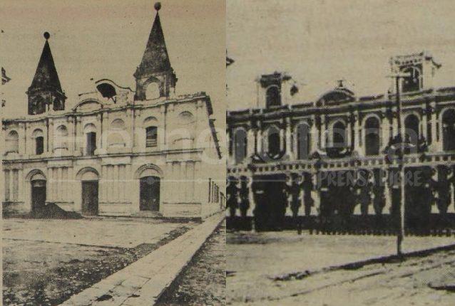 A la izquierda la sede de la Tercera Orden de San Francisco como fue construida originalmente. A la derecha luego de la expropiación de la Revolución Liberal fue convertida en Oficina Postal y modificando su fachada. (Foto: Hemeroteca PL)