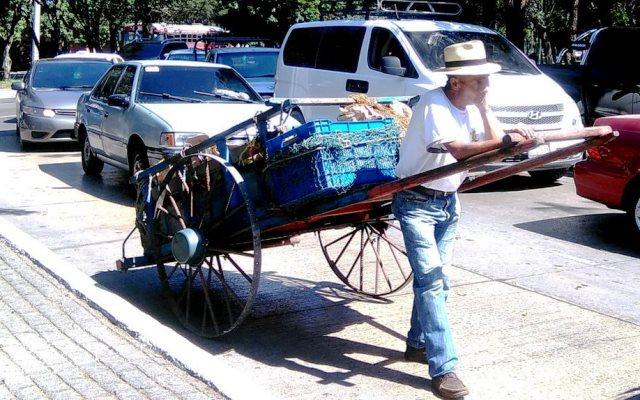 Tomás Calel migró a la capital hace 35 años. Dejó su natal Quiché para dedicarse a transportar productos del mercado La Termina, en la zona 4, hacia plazas en la zona 9 y 10. (Foto Prensa Libre: Oscar Felipe Quisque)