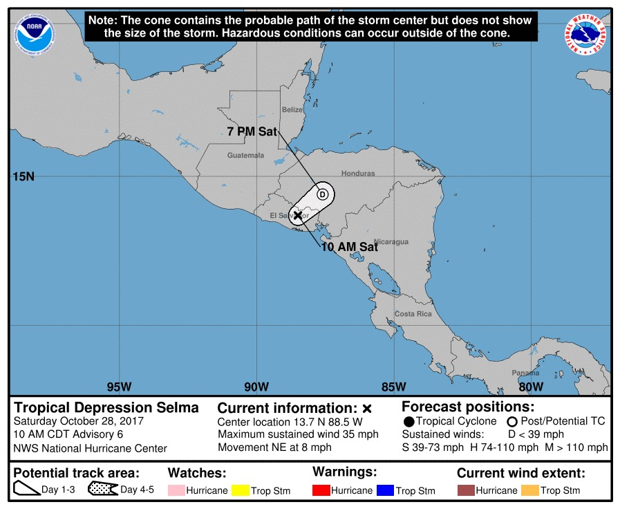 Tormenta tropical Selma no llegó a Guatemala y se desvió a El Salvador donde se convirtió en depresión tropical. (Foto Prensa Libre: NHC)
