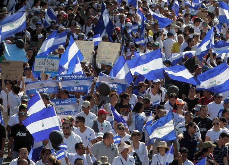 Manifestaciones masivas en Nicaragua contra el gobierno de Daniel Ortega. (Foto Prensa Libre: BBC Mundo)