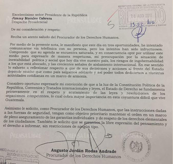 Carta que el procurador Jordán Rodas envió al presidente Jimmy Morales. (Foto Prensa Libre: PDH).