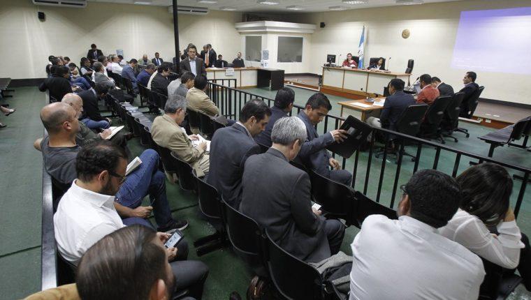 Sindicados en el caso Construcción y Corrupción durante la audiencia de primera declaración el pasado viernes 25 de agosto. (Foto Prensa Libre: Hemeroteca PL)
