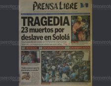 Portada del 14 de septiembre del 2002, donde se evidencia la tragedia en Sololá. (Foto: Hemeroteca PL)