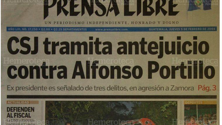Portada del 5/2/2004 A Alfonso Portillo, expresidente de Guatemala, el brazo de la ley lo alcanzó luego de que la Corte Suprema de Justicia resolviera con lugar un antejuicio en su contra por diversos delitos. (Foto: Hemeroteca PL)