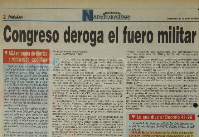 1996: Congreso deroga el fuero militar