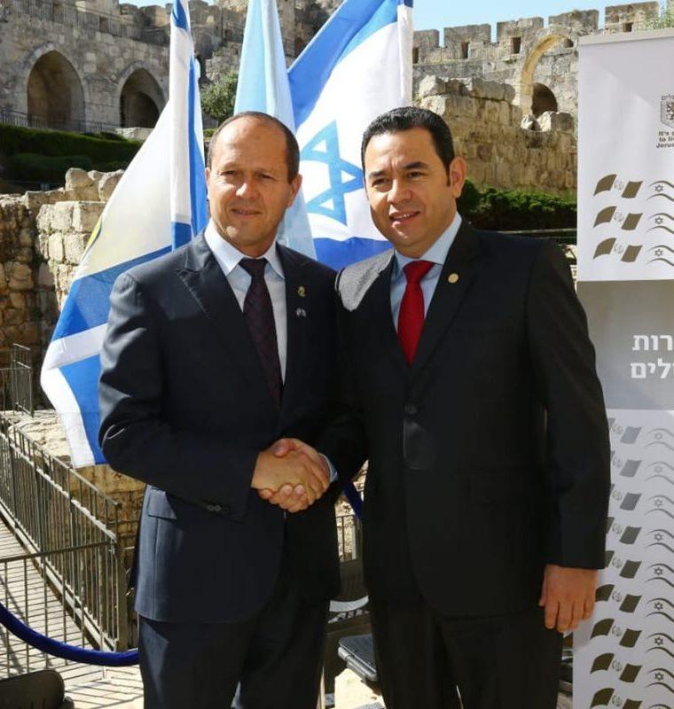 El alcalde de Jerusalén celebró los lazos de amistad entre Guatemala e Israel. (Foto Prensa Libre: Cancillería Israelí)