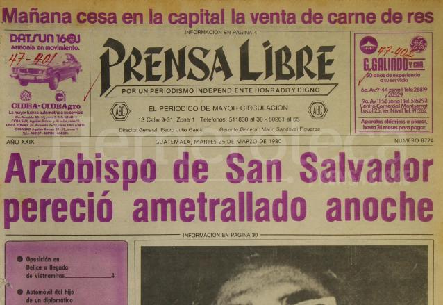 Se cumplen 37 años del asesinato de Monseñor Romero