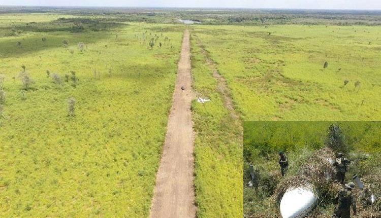 Una pista clandestina utilizada por narcotraficantes fue hallada en marzo del 2018 en el parque Laguna del Tigre, San Andrés, Petén, en la zona fronteriza con México. (Foto HemerotecaPL)