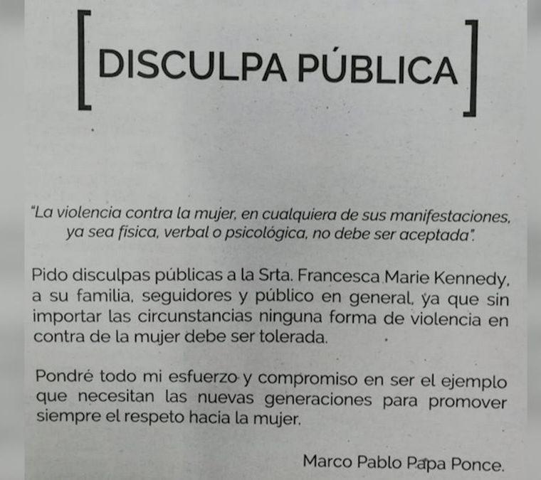 Esta es la disculpa pública realizada por Marco Pappa que apareció en la edición de este sábado en Prensa Libre. (Foto Prensa Libre: Prensa Libre)