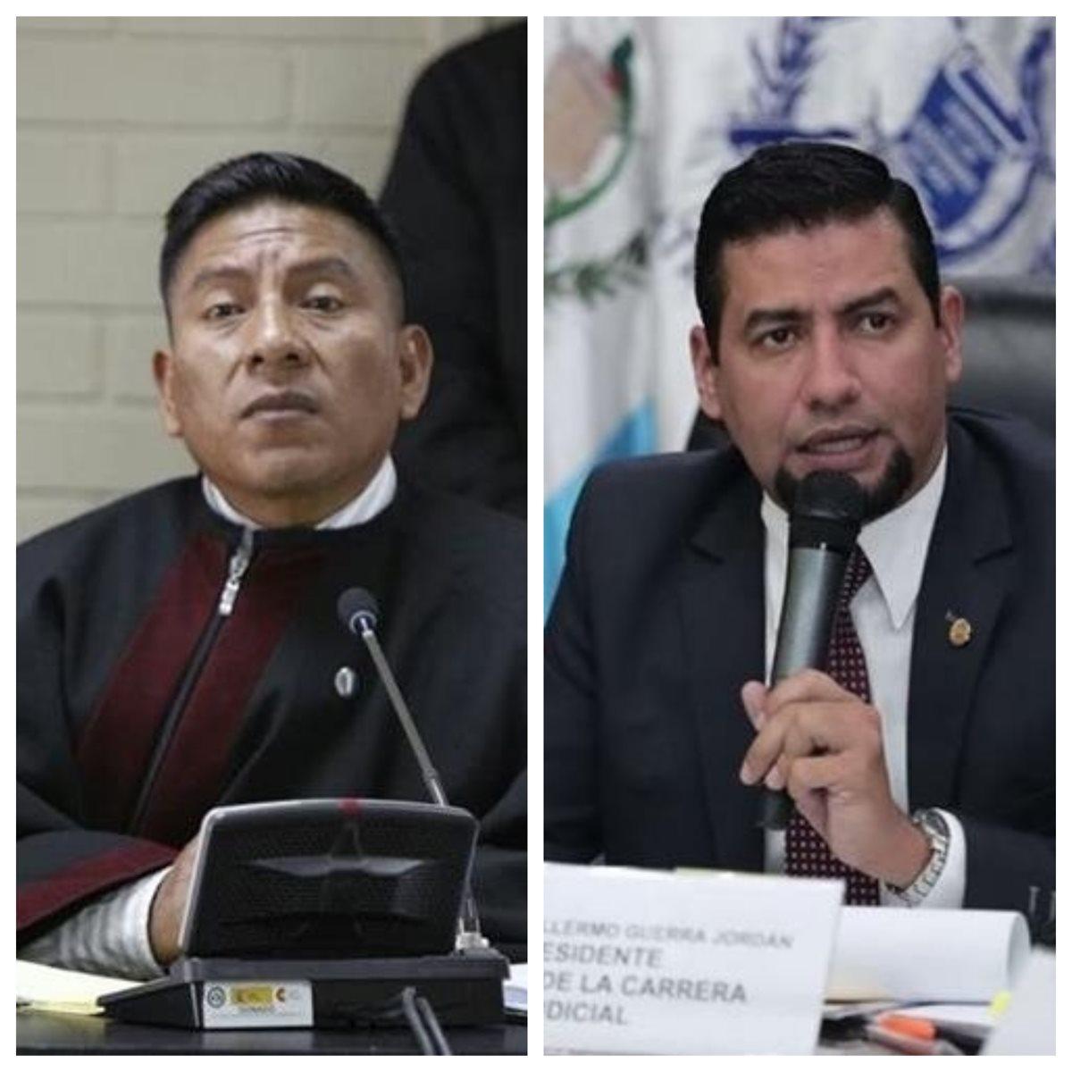 Pablo Xitumul de Paz -izquierda-, presidente del Tribunal de Mayor Riesgo C, y Carlos Guerra, presidente del Consejo de la Carrera Judicial. (Foto Prensa Libre: Hemeroteca PL)