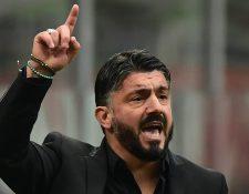 El entrenador italiano Gennaro Gattuso, se mostró indignado por los actos de racismo contra, Koulibaly. (Foto Prensa Libre: AFP)